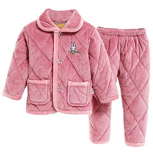HOUXIAONI Épaississement de l'hiver Flannels Pyjamas Vêtements de Nuit Chemise de Nuit Style Britannique Type de Bouton Vêtements de Nuit Bébé Unisexe Maison Lazy Pink-A-90