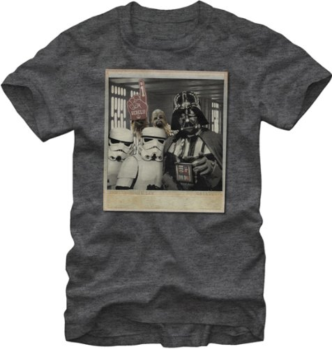 Star Wars Wookie Photo Bomb Mens, Charcoal Heathered Tee, Large