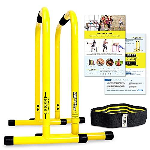 Lebert Fitness Equalizer Gelb mit Resistance Band - Calisthenics Equipment ✓ Dip Station ✓ Push Up Stand Bar ✓ Pull Up Dip Bar ✓ Bodyweight Equipment ✓ für Intensiven Gebrauch