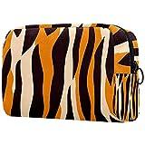 Bolsa de Maquillaje para niños Textura de Tigre Accesorio de Viaje Neceser Pequeño Bolsas de Aseo Suave al Tacto Cosmético Organizadores de Viaje 18.5x7.5x13cm