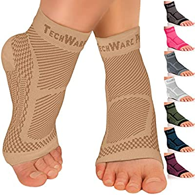 TechWare Pro Ankle Brace Compression Sleeve - Relieves Achilles Tendonitis, Joint Pain. Plantar Fasciitis Foot Sock with Arch Support Reduces Swelling & Heel Spur Pain. (Beige, S / M)