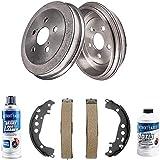 Detroit Axle - Pair (2) Rear Brake Drums + Ceramic Brake Shoes + Brake Cleaner & Fluid for 2000 2001 2002 2003 2004 2005 Toyota Celica