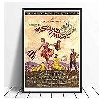 音楽の音クラシック映画ヴィンテージキャンバス絵画壁アートポスター絵の装飾リビングルームの装飾のための絵画キャンバスに印刷50x70cmフレームなし