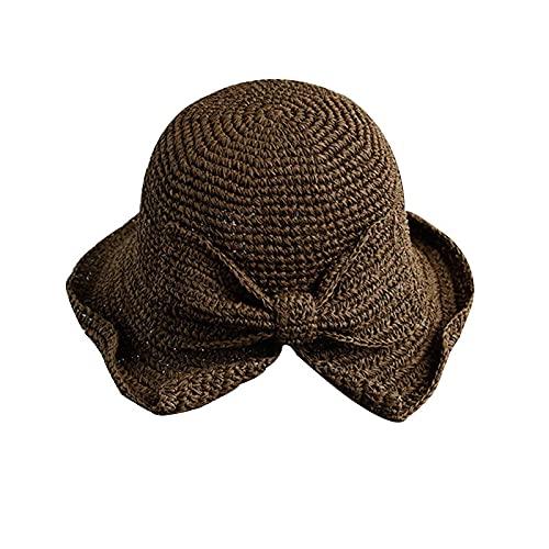Henreal Sombrero de verano de ala y lazo plegable sombrero de verano sombrero de paja plegable sombrero de sol sombrero de playa de verano para mujeres y niñas
