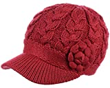 BYOS Womens Winter Chic Cable Knitted Newsboy Cabbie Cap Beret Beanie Hat with Visor, Warm Plush Fleece Lined, Many Styles (Cable w/Flower Red)