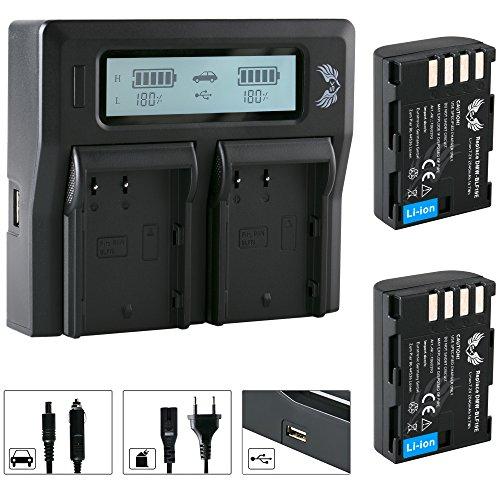 2X SK Akku Panasonic DMW-BLF19E 2040mAh + LCD Dual Doppel Ladegerät DMW-BLF19 für Panasonic DMC-GH3 DMC-GH4 / DC-GH5 GH5S DC-G9 G9L und weitere