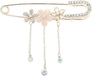 Rose Gold Crystal Metal Brooch Kilt Safety Pin Scarf Women Wedding Jewelry