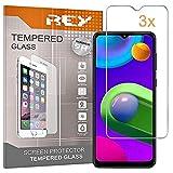 REY 3X Protector de Pantalla para Samsung Galaxy A32 5G - Galaxy M02 - Galaxy M02s, Cristal Vidrio Templado Premium