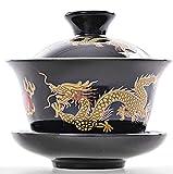 YBK Tech - Tazza da tè e piattino in porcellana Kung Fu con coperchio, tradizionale cinese Gaiwan Sancai, set da tè con motivo drago, colore: nero