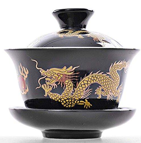 YBK Tech Porzellan Kung Fu Tee Tasse und Untertasse mit Deckel, traditioneller chinesischer Gaiwan sancai Damen Tee Schale Tee Set Drache Muster schwarz