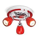Plafonnier LED Racing, Ø 31 cm, 3x 2.5W GU10 LED incl, 3x 220 lumens, 3000K blanc chaud, métal, rouge/blanc-noir
