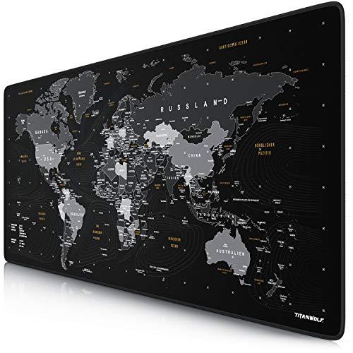 CSL - DEUTSCHES Layout - Titanwolf XXL Gaming Mauspad 900x400x3 mm - Schreibtischunterlage Gross - XXL Mousepad Gaming und Office - Weltkarte schwarz