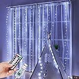 PEYOU Cortina de Luces LED, Luces de Navidad de Hadas Regulable, 3m x 3m con 300 LED, 8 Modos, Impermeable IP65 para la Decoración de Ventanas/Partido/Patio/Bodas, Conexión USB(Blanco)