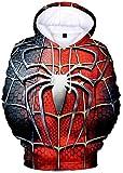 PANOZON Sudadera Unisex Impresa 3D de Araña para Fanes de Araña Chaqueta con Capucha Mangas Largas (XL, Rojo Gris)