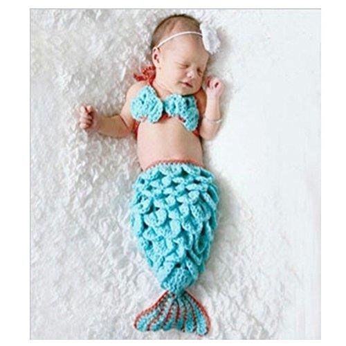 DAYAN Costumino a maglia per neonati, con cappello, per fotografie Blu 1