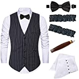 Mens 1920s Accessories Gangster Stripe Vest Set - Gangster Spats,Armbands,Pre Tied Bow Tie,Toy Fake Cigar,Black,S1
