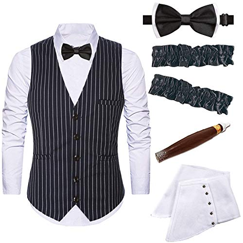 Mens 1920s Accessories Gangster Stripe Vest Set - Gangster Spats,Armbands,Pre Tied Bow Tie,Toy Fake Cigar,Black,L1