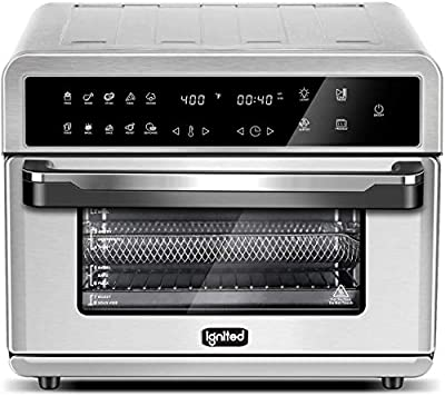 ignited Air Fryer Toaster Oven 26.4 Quart Family Size Large Capacity Oven For Bake Broil Pizza Roast Toast Dehydrate with Accessories and Recipe Book (Silver)