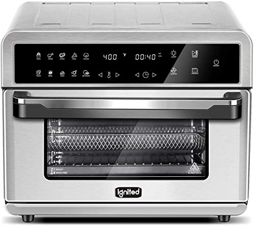 ignited Air Fryer Toaster Oven 26.4 Quart Family Size Large Capacity Convection Oven For Bake Broil Pizza Roast Toast Dehydrate with Accessories and Recipe Book (Silver)