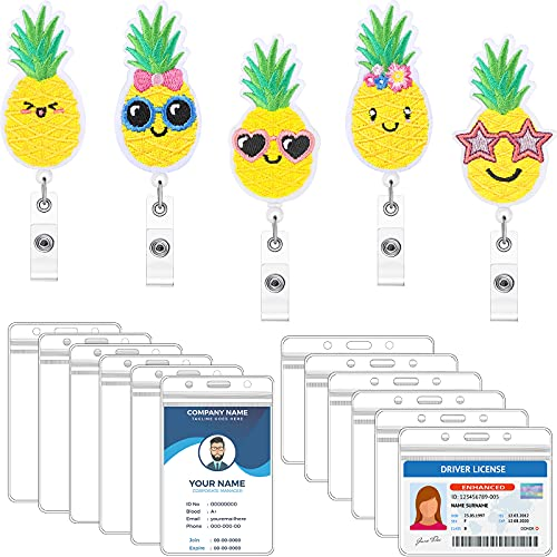 6 Pieces Pineapple Badge Reel Retractable Felt ID Badge Holder with 360° Swivel Alligator Clip and 12 Clear 4 x 3 inch Vaccine Card Holder in Horizontal and Vertical for Nurse Volunteer Student Worker