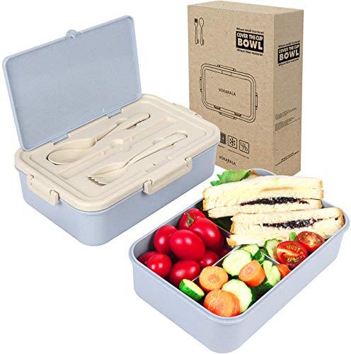 VOKARALA Brotdose, Bento Box, Lunchbox, Brotzeitbox mit 3 Fächern und Besteck aus Kunststoff für Kinder und Erwachsene 1000ml Lunch Box mit Unterteilung mikrowellen und Spülmaschinenfest