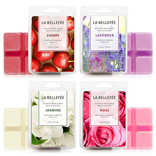 LA BELLEFÉE 4 x Packs Perfume Box Wax Melts Set of Rose, Jasmine, Cherry, Lavender, Organic, Vegan, Soy Wax melt, Natural Wax