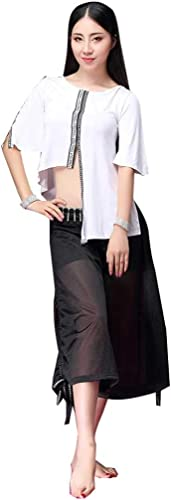RJ Robes Costume de Danse du Ventre vêteHommests de Pratique de Fusion Moderne, Pantalon de Concours de Ventre Sexy Grande Tenue de Danse (Couleur   blanc noir, Taille   L)