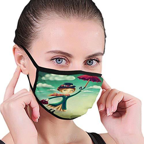 U Shape Anti-Staub-Gesichtsbedeckung, Cartoon Fy Tale Nanny mit magischem Regenschirm und Tasche, die über die Skyline von London fliegt, Mundschutz-Schalschild für den Außenbereich