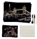 DOITEM Scratch Art Paper 16 x 11,5 pollici Scratchboard Night View Luoghi famosi in tutto il mondo Paesaggi Set di arte fai-da-te con kit di strumenti specializzati con stencil (Tower Bridge)