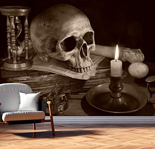 Vlies Tapete Poster Fototapete Totenkopf Sanduhr Knochen Mystik Farbe sepia, Größe 160 x 120 cm