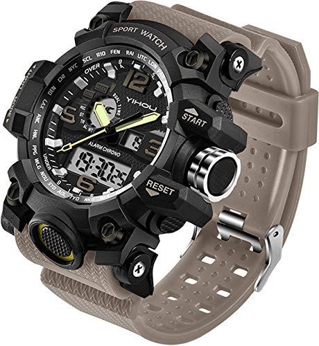 Relógio de pulso masculino, esportivo, com cronômetro, LED, eletrônico, dois horários, digital e analógico, ambientes externos, militar, tático, Caqui