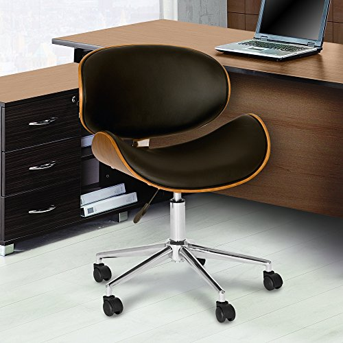 Armen Living Daphne Office Chair in Black Faux Leather and Chrome Finish $117 + Free shipping