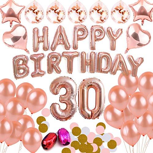 DANXIAN 30 Geburtstags, Rosegold Dekoration Set Happy Birthday Banner Deko für Mädchen und Jungen