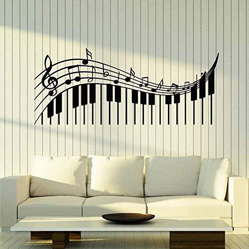 Violinschlüssel Notenschlüssel Vinyl Wandtattoo Klassenzimmer Musik Klavier Noten Pianoforte Wandaufkleber Wohnzimmer Modern Home Decor Schwarz 24X57Cm