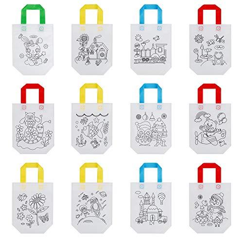 MengH-SHOP DIY Graffiti Taschen Kinder Stoffbeutel Set Non-Woven-Tasche Stofftaschen zum Bemalen Farbfüllung Muster Geschenk 12 Muster 24 Stück