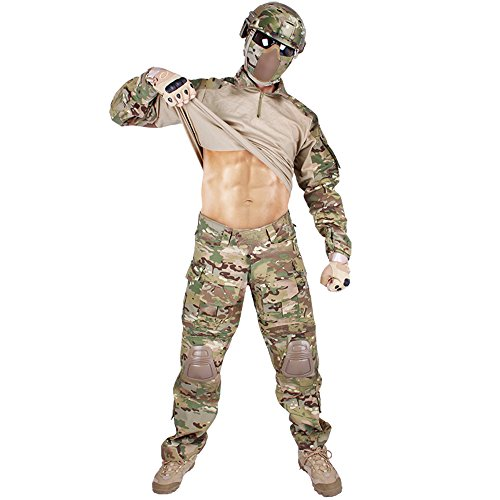 IDOGEAR Men G3 Assault Combat Uniform Set with Knee Pads and Elbow Pads Multicam Camouflage BDU Clothing Tactical Airsoft Hunting Paintball Gear (Small)