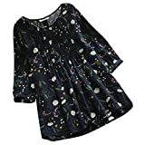 JOFOW Women's Blouse,Casual Cotton and Linen Three Quarter Long Sleeve Pleated Floral Print O Neck Loose Tops Shirt for Women (L,Navy)