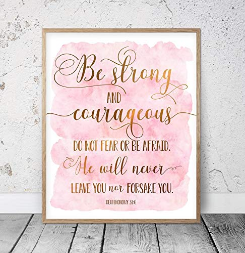 Pealrich Wood Framed Decor Sign, Be Strong and Courageous, Deuteronomy 31:6, Bible Verse Printable Wall Art, Christian Gifts, Nursery Bible Quotes, Scripture Prints Girls,8 x 12 Inch