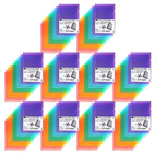 スマートマットライト プラス クリアホルダー A4 100枚 パック5色×20枚 高透明カラー 80-160×10