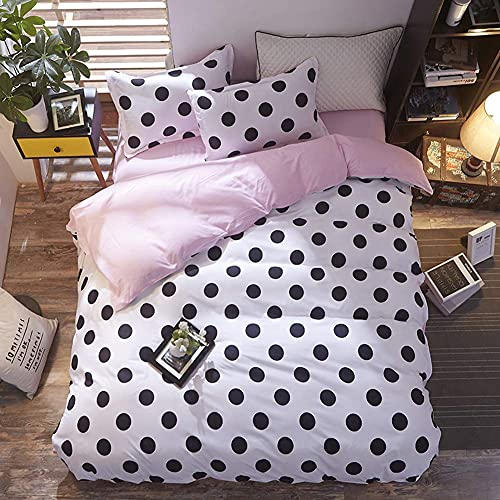 Girls Polka Dot Duvet Cover Set Queen Size Black Dots Print Pattern on White Bedding Sets Reversible Baby Pink Solid Color Comforter Quilt Covers for Kids