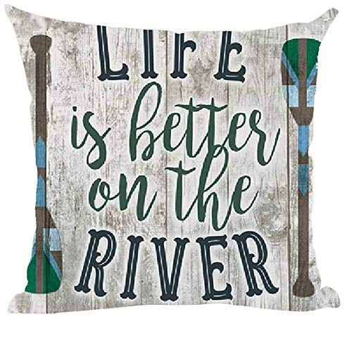 ramirar Word Art Quote Life is Better On The River Retro Brown Background Inspirational Decorative Throw Pillow Cover Case Cushion Home Living Room Bed Sofa Car Cotton Linen Square 18 x 18 Inches