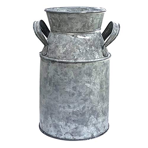 WHHOME Shabby Chic Classy Designed Silver Milk Can Galvanized Finish Metal Vase Country Rustic Primitive Decorative Flower Holder, 7.1
