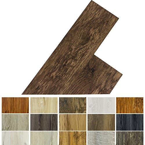 STILISTA Vinyl Laminat Dielen, 15 Dekors wählbar, 5,07m² oder 20m², rutschfest, wasserfest, schwer entflammbar - 5,07m² Walnuss rustikal dunkelbraun