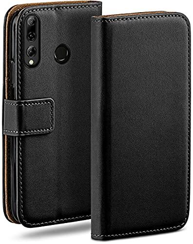 moex Klapphülle kompatibel mit Huawei P smart Plus 2019 Hülle klappbar, Handyhülle mit Kartenfach, 360 Grad Flip Hülle, Vegan Leder Handytasche, Schwarz