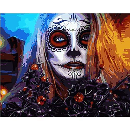 yaonuli Digitale schilderij DIY horror kwaad lelijke vrouw figuur canvas bruiloft decoratie geschenk 40x50cmFrameless