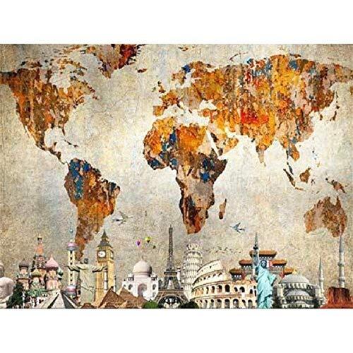 YDH Puzzle de 1000 piezas para adultos de madera Puzzle – Mapa del Mundo, arquitectura de renometría mundial, diseño único para decoración del hogar