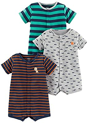 Simple Joys by Carter's Baby Boys' 3-Pack Snap-up Rompers, Green Stripe/Gray Cars/Orange Stripe, 18 Months