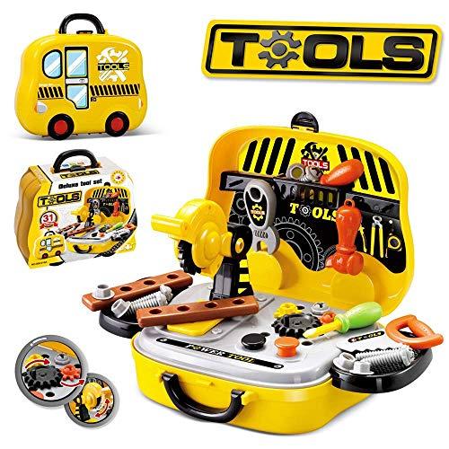 UiiQ おままごと 大工さん 工具セット 工具おもちゃ 男の子向け 組立て 玩具 ごっこ遊び ツール工具箱 収納トランクセット (イエロー)