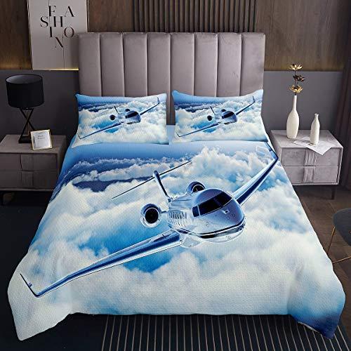 Loussiesd Flugzeuge Bettüberwurf Flugzeug Drucken Steppdecke für Kinder Mädchen Flugzeuge Fliegen Tagesdecke 220x240cm Weiß Blau Himmel Wohndecke Raumdekoration 3St