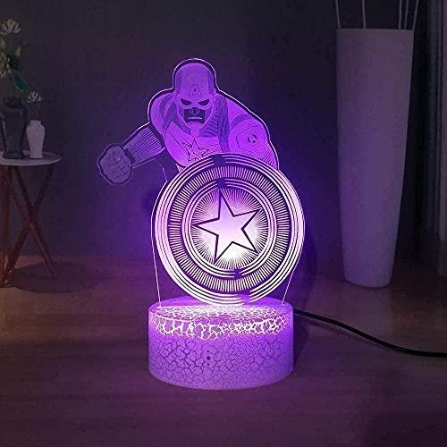 XKUN Lámpara de Mesa 3D Illusion, 16 Colores Cambiantes de Luz Nocturna con Control Remoto, Regalo de Cumpleaños para Niños,Capitan America